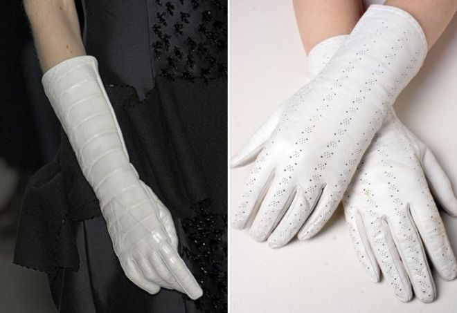 white tall and short gloves