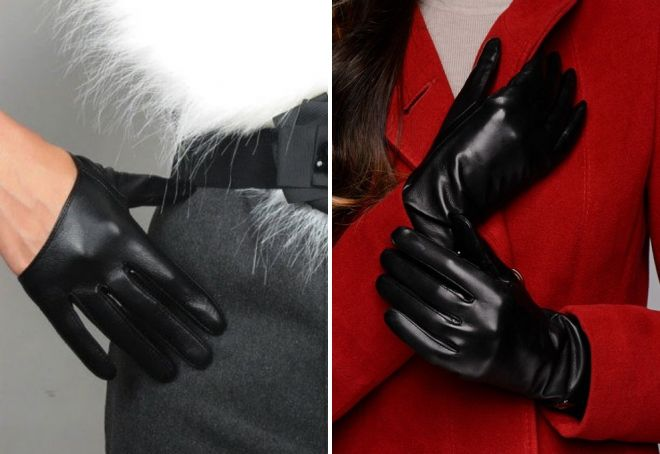 black patent gloves