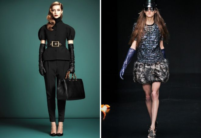 fashionable black gloves in a harmonious image