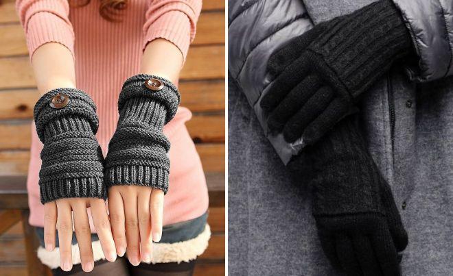 black wool gloves