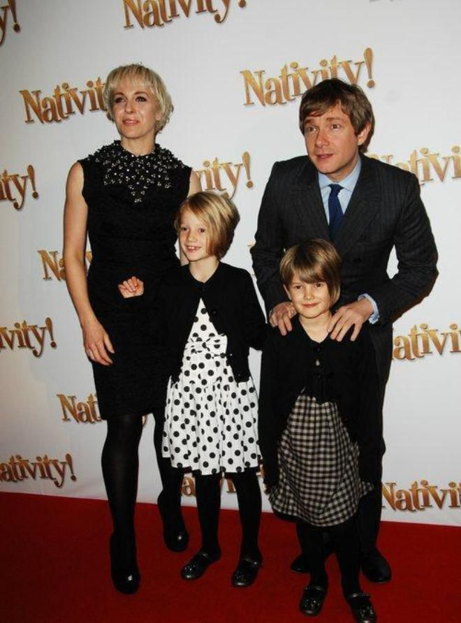 Amanda Abbington and Martin Freman with children