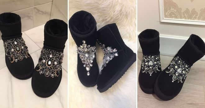 Uggs with rhinestones in front