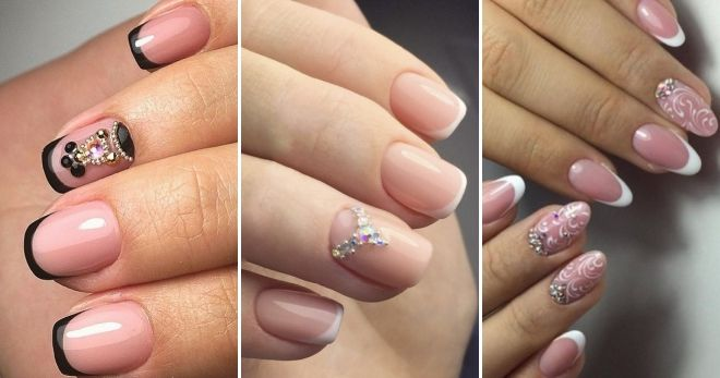 French manicure with rhinestones and bouillons decor