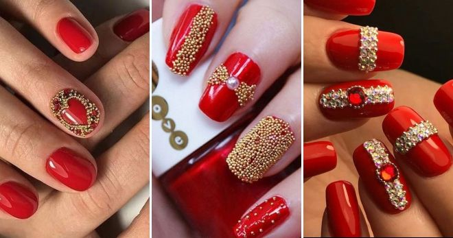 Red manicure with golden bouillons