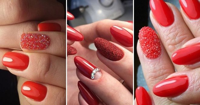Red manicure with transparent bouillons