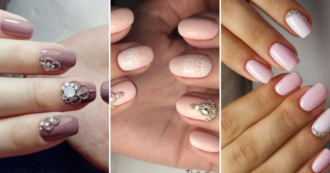 Manicure for short nails with bouillons and rhinestones