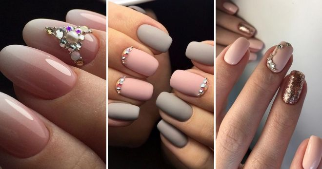 Manicure for long nails with bouillons decor