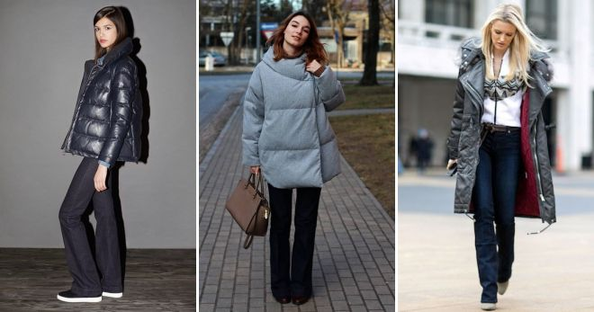 Gray down jacket with fur with flared