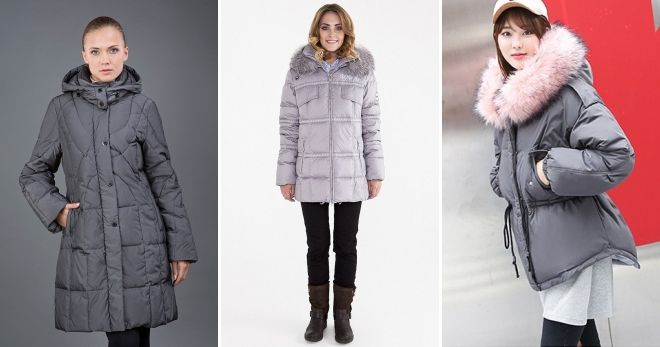 Gray hooded down jacket