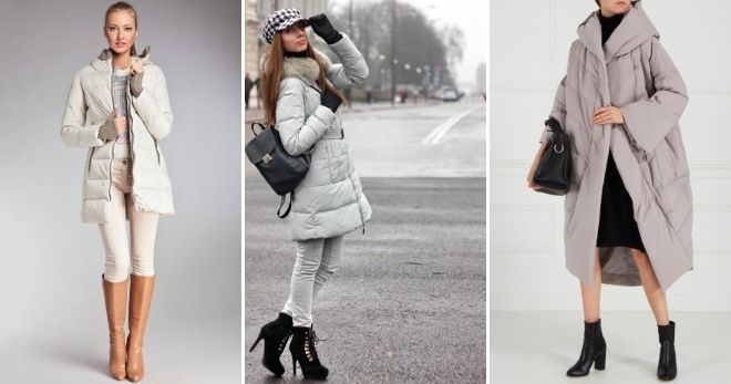 Shoes to gray down jacket heel