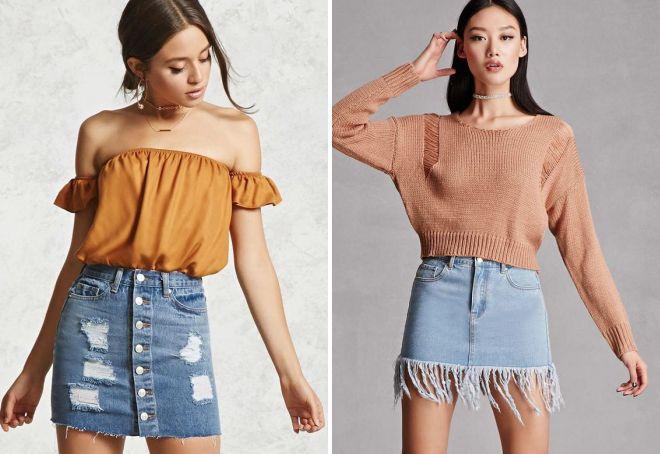 fashionable denim skirts