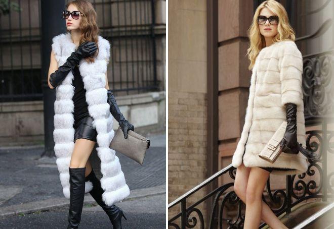 long gloves under a fur coat