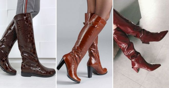What can I wear with leather brown lacquered boots?