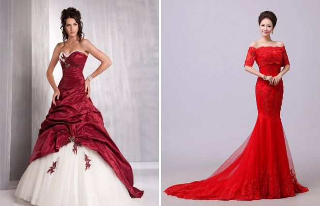 fashionable red wedding dresses