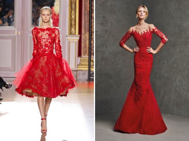 red wedding lace dress