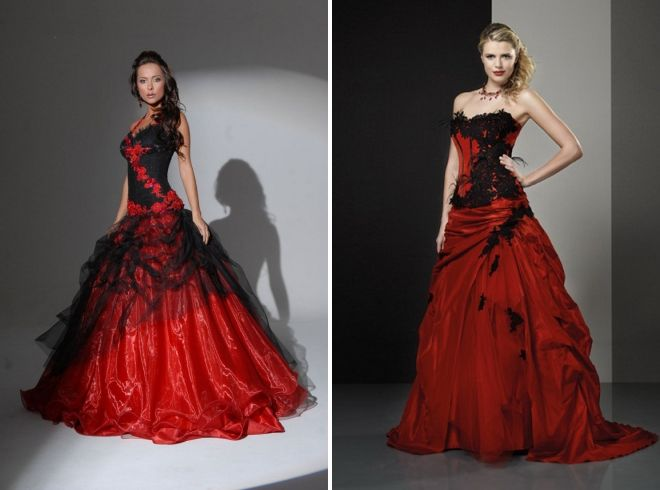 black red wedding dress
