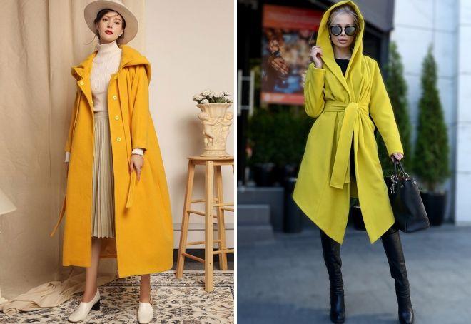 yellow coat with hood
