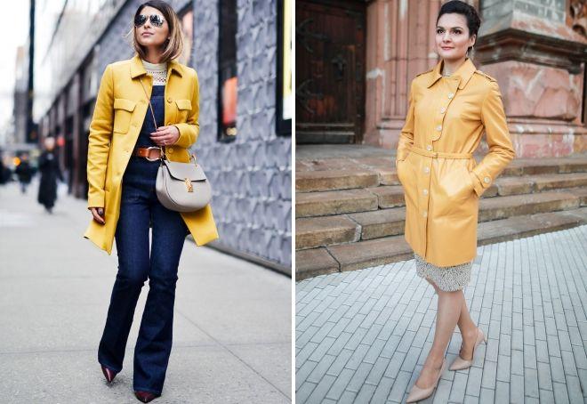 yellow leather coat