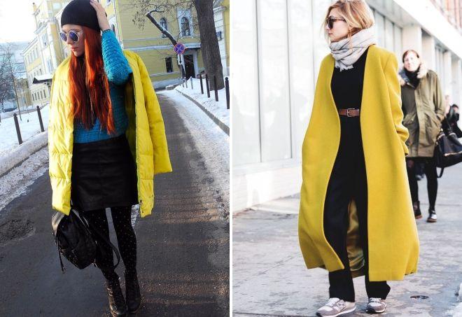 winter yellow coat
