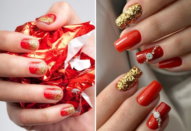 red manicure with gold sparkles