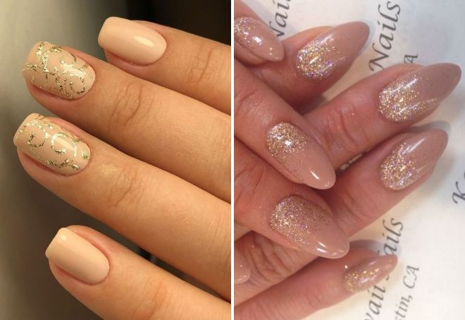 Nude manicure with gold sparkles
