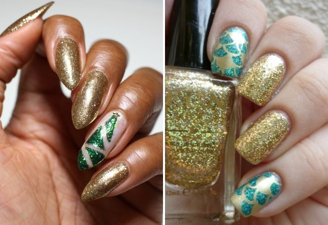 nail design in gold color with sparkles