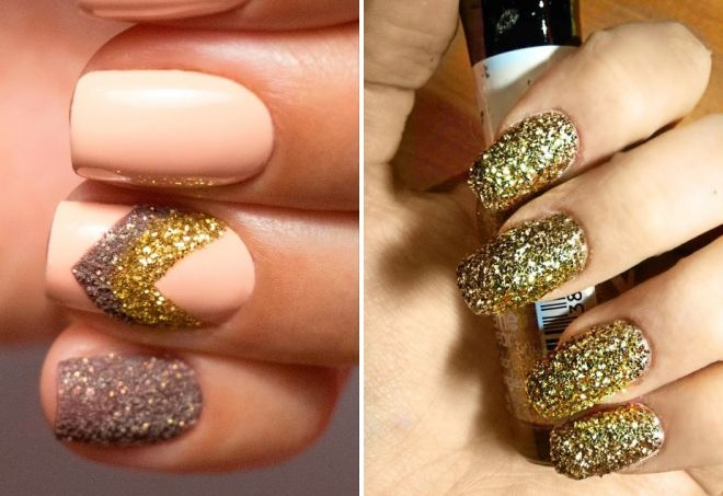 nail design with gold sparkles