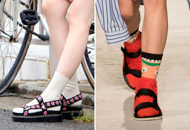 flat sandals with socks