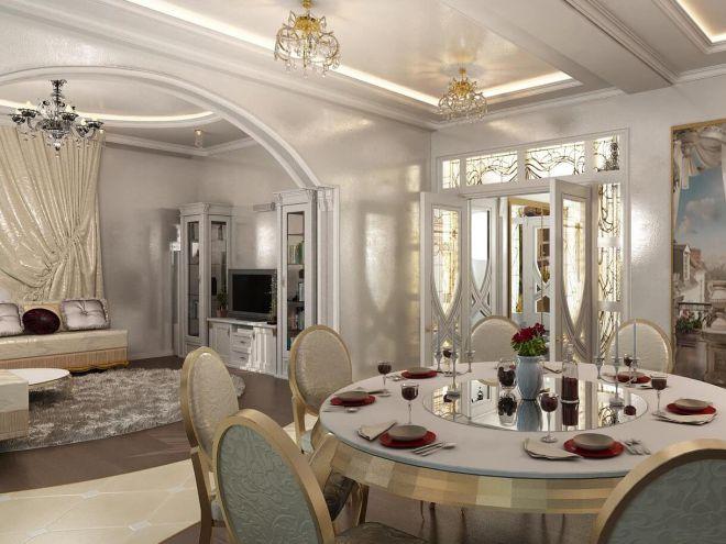 дизайн столовой гостиной в частном доме фото 1