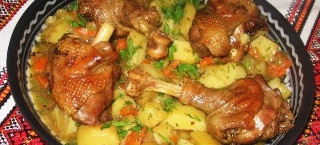 کباب پز Gusya با سیب زمینی در کوره