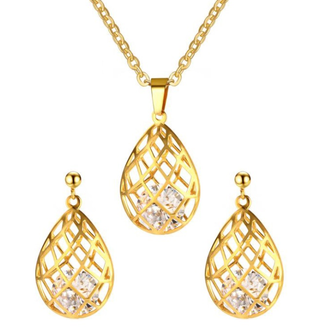 Gold Cage Diamond Jewelry Set PN 013 Womandilax™