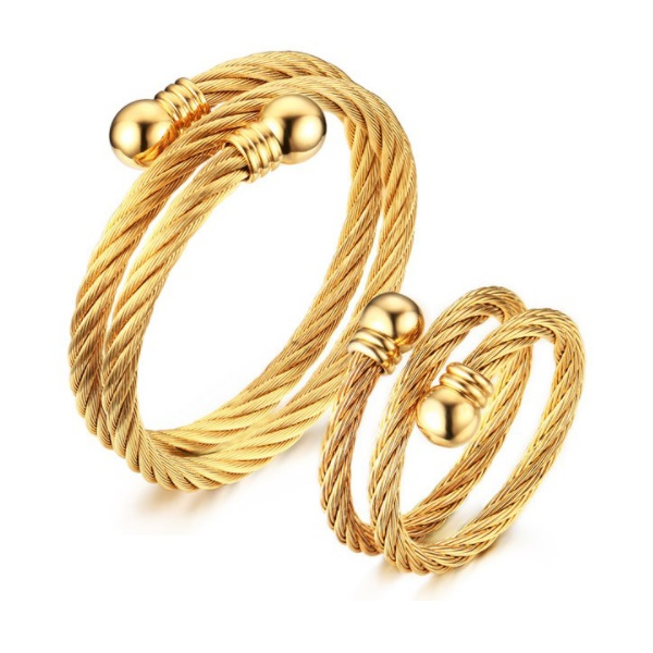 trollbeads gold bracelet twisted katzenmaiers plated bangle love chain glorious bangles