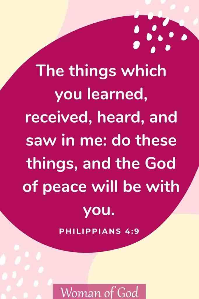 Philippians 4:9 Bible Verse pin