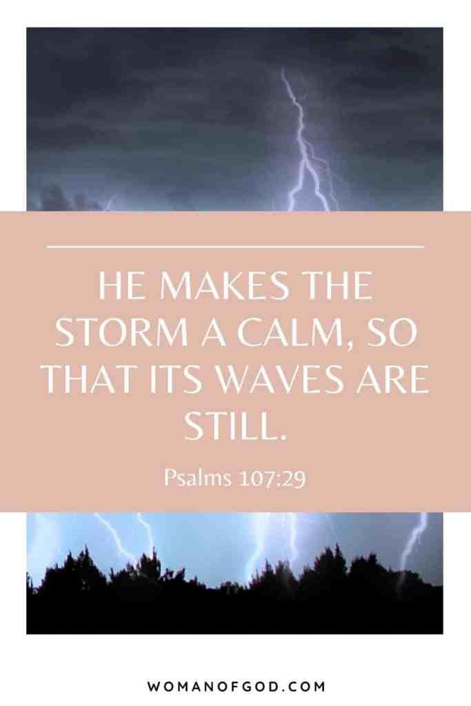 Psalms 107:29 Bible Verse pin