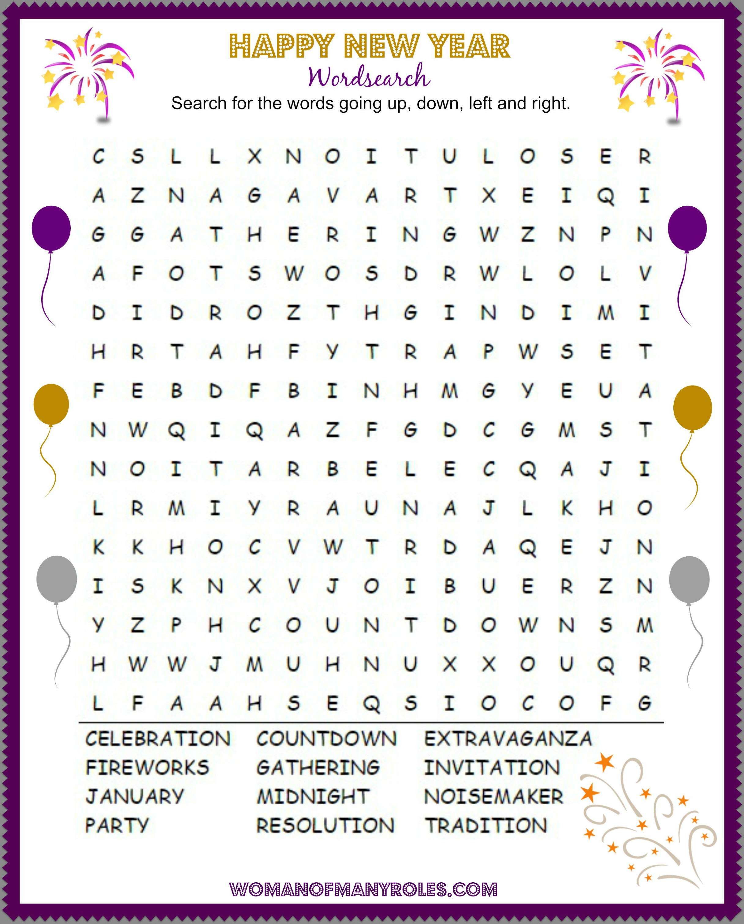 Happy New Year Word Search Printable Woman Of Many Roles