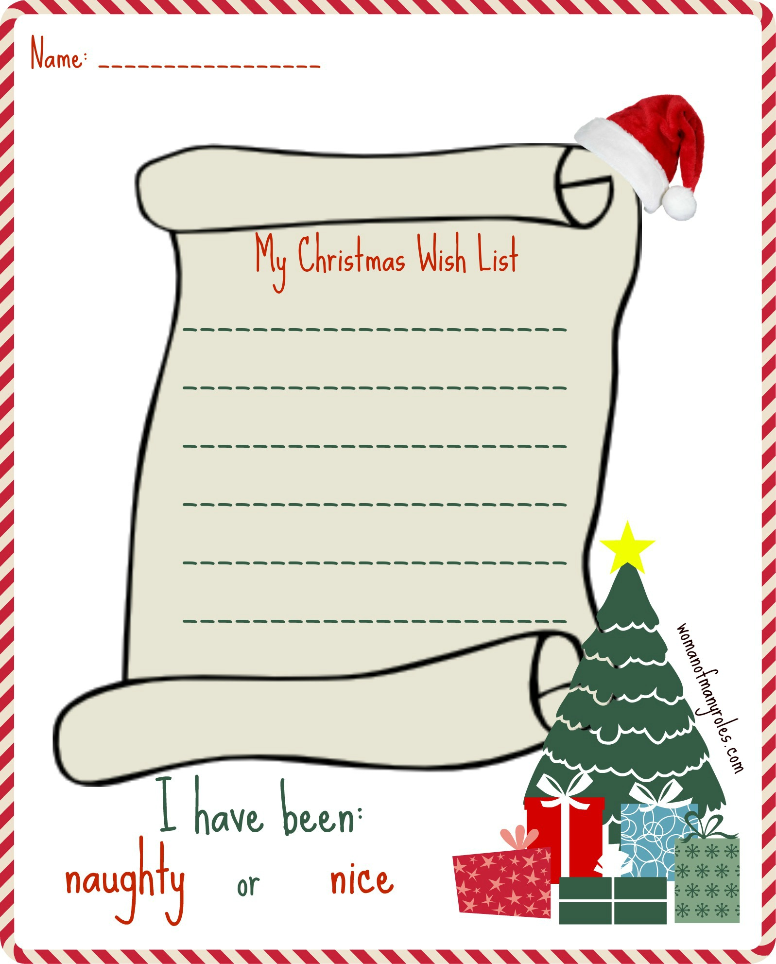 My Christmas Wishlist Printable Woman Of Many Roles