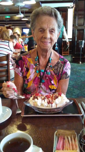 Mom eating banana split