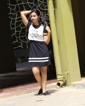 Wear a trendy top over the Tshirt Dress