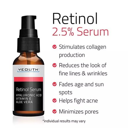 Retinol Serum 2.5 percent with Hyaluronic Acid, Aloe Vera, Vitamin E