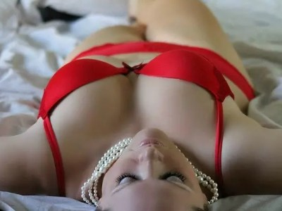 A woman in red bra