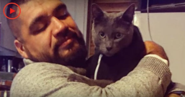 мужчина спас котенка