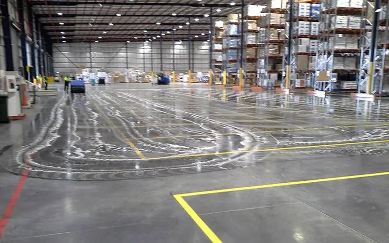 Floor Scrubbing Massive Factory Floor