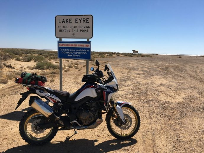 Africa Twin at Lake Eyre South