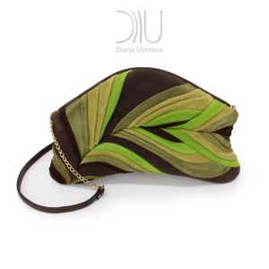 Designer Evening Bags Clutches. Feather Clutch Brown Green by Diana Ulanova. Buy on women-bags.com
