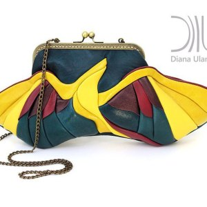 Designer Clutch Bag. Birdie Green/Yellow by Diana Ulanova. Buy on women-bags.com