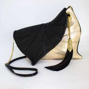 Designer Clutch Bag. Leaf Drop Black/Gold by Diana Ulanova. Buy on women-bags.com