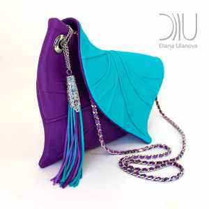 Designer Evening Bags Clutches. Leaf Drop Purple/Light Blue 2 by Diana Ulanova. Buy on women-bags.com