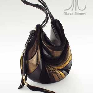 Designer Shoulder Bags For Women. Feather Black/Gold by Diana Ulanova. Buy on women-bags.com