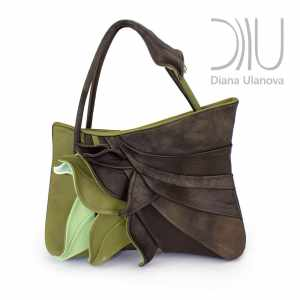 Designer Top Handle Bag. Feathers Green/Brown by Diana Ulanova. Buy on women-bags.com