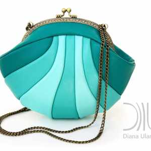 Designer Mini Handbags. Reticule Shell Aquamarine by Diana Ulanova. Buy on women-bags.com